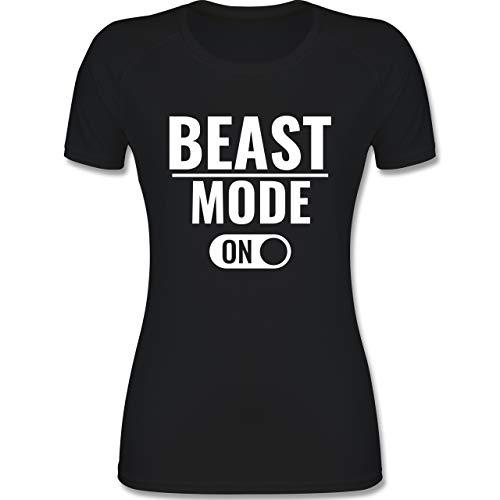 Fitness & Workout - Beast Mode ON - M - Schwarz - Cross fit - F355 - atmungsaktives Funktionsshirt für Damen