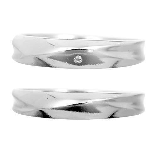 [ココカル]cococaru ペアリング シルバー リング2本セット ダイヤモンド マリッジリング 結婚指輪 日本製(レディースサイズ17号 メンズサイズ10号)