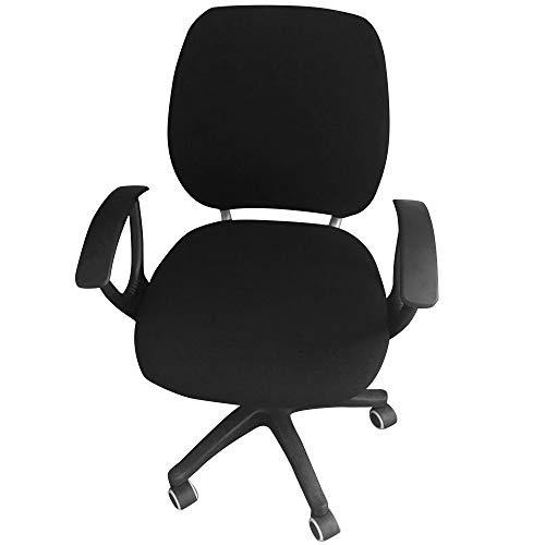 G&X Housse de chaise de bureau pour ordinateur - Couleur unie - Housse de chaise rotative amovible - Extensible - Noir