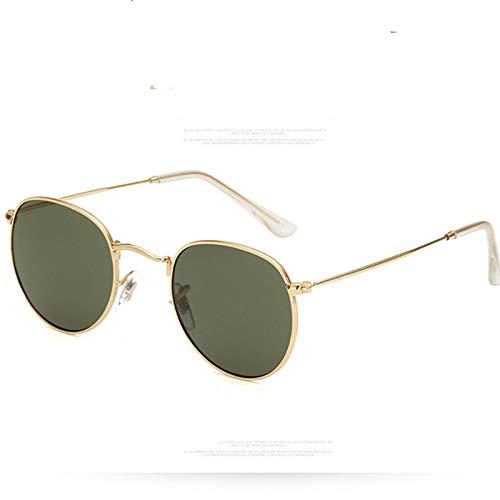 XUANTAO Gafas de Sol de Cristal de Moda clásicas para Hombres y Mujeres Gafas de Sol al Aire Libre Redondas Gafas de Sol Coloridas Europeas y Americanas Marco Dorado Verde Oscuro