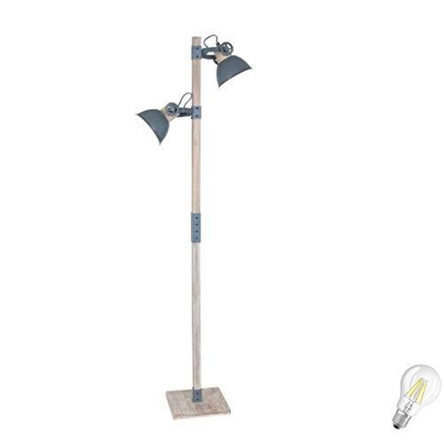 STEINHAUER 2666GR Strahler Trend Stehlampe Fluter Retro Vintage Industrie Lampe Stehleuchte 2fl inkl. 7 Watt Filament Edison Vintage Led Lampe