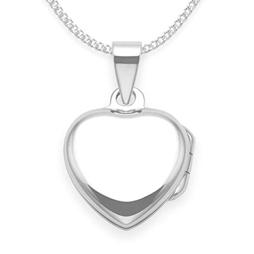 Heather Needham Silver: 925 Sterling Silver Children's Heart Locket Necklace on 15 inch silver chain - SIZE: 13mm plus top Gift boxed 8013/15