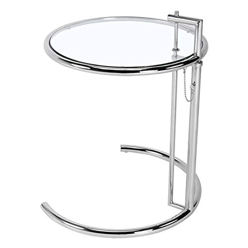 Dybory Small Round Glass Table with Height Adjustable, Sofa Bed Side Shelf Coffee Table, Stainless Steel Legs with Tempered Glass Surfaces And Non-Slip Rubber Pads, Silver