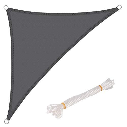 WOLTU Sonnensegel Dreieck 3,6x3,6x5,1m Grau wasserabweisend Sonnenschutz Polyester Windschutz mit UV Schutz für Garten Terrasse Camping
