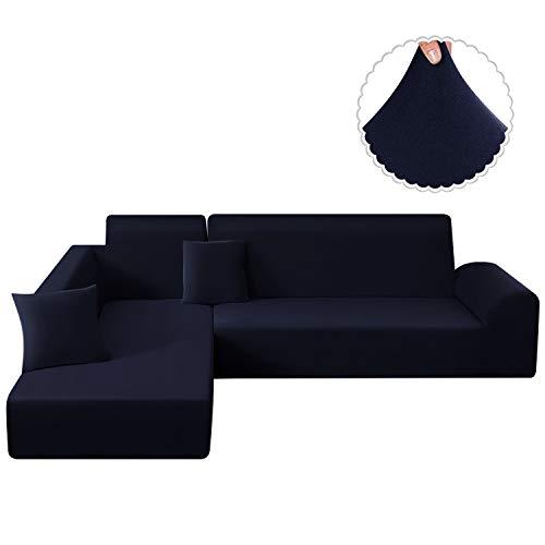 TAOCOCO Funda para sofá en Forma de L Funda elástica elástica 2 Juegos para 3 Asientos 3 Asientos, con Funda de cojín de 2 Piezas (Azul Oscuro)