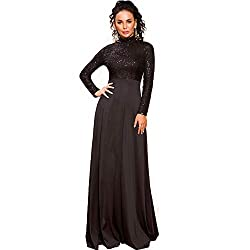 Black O-Neck Long Sleeve Pattern Glitter Maxi Elegant Dress