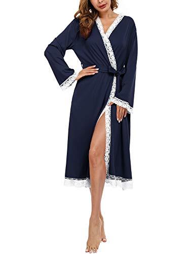 Doaraha Albornoces de Encaje para Mujer Cárdigan Batas de Encaje Bata de Kimono con Cuello en V Bolsillo Ropa de Dormir Suave (Azul, S)