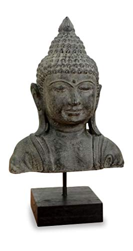 livasia Buddha Steinbüste, Buddhaskulptur, Dekofigur, Steinfigur (grau/groß)