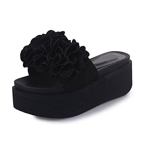 Damen Plateausandalen mit Single Band Flache Sandale Lässige und Bequeme Strandschuhe aus hochwertigen Materialien mit Blumen,Schwarz,36