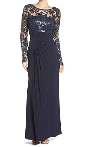 Eliza J womensEJ7M4503Long Sleeve Gown with Front Gathering Long-Sleeve Dress - Blue - 18