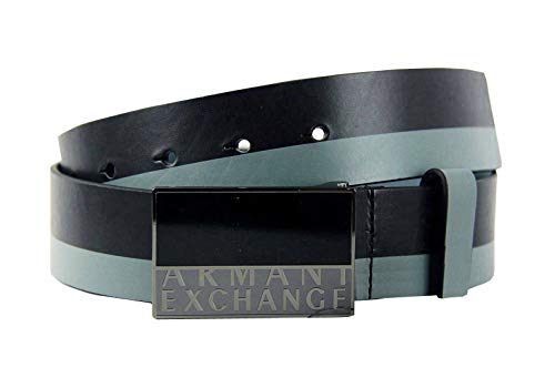 Armani Exchange 1.5 Inch Men's Leather Belt (Black and Grey, 32)