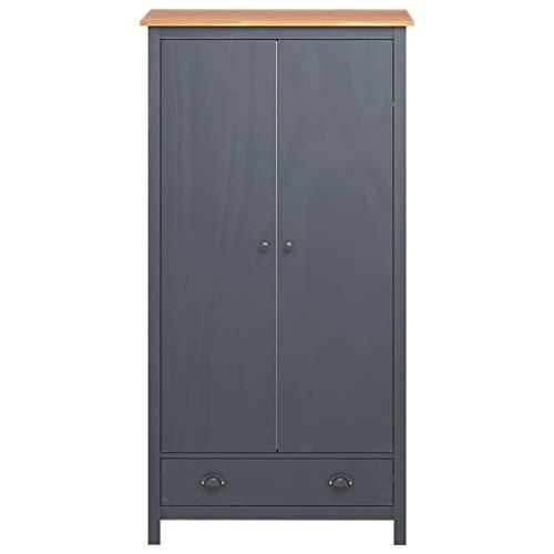 GOTOTOP - Armario de dormitorio con 2 puertas   Armario con 1 cajón y 1 estante   89 x 50 x 170 cm (ancho x profundidad x altura)   Madera de pino maciza   gris y marrón miel
