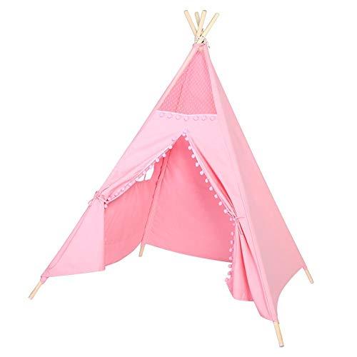 Kinderzelt Spielzelt Zelt Kinder Spiel Ruhe Raum Dekoration Indianer Stil Indoor Outdoor Spilen Zelt mit Fenster, Reine Baumwolle mit Spitze Ball, 150 x 120 x 120cm(Rose)