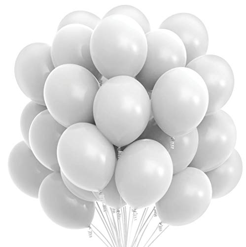 Prextex 75 White Party Balloons 12 Inch White Balloons with Matching Color Ribbon for White Theme Party Decoration, Weddings, Baby Shower, Birthday Parties Supplies or Arch Décor - Helium Quality