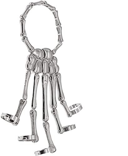 Pulseras de hueso de mano con dedos de metal de calavera gótica con pulsera de anillo ajustable Pulseras punk hechas a mano para mujeres o niñas (Plata)