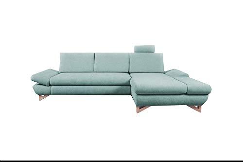 mb-moebel Ecksofa mit Schlaffunktion Eckcouch mit Bettkasten Sofa Couch L-Form Polsterecke Merida (Mintgrün, Ecksofa Rechts)