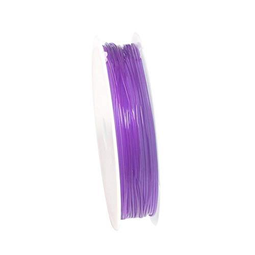 WHYBH HYCSP 100M / Rollo de plástico Cristal Rebordeado Hilo elástico Hilo elástico Cadena de Hilo de Suministro de producción (Color : 0.6mm X 10m Purple)