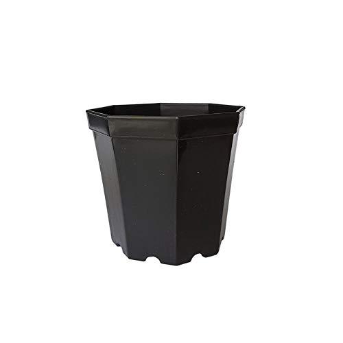 Nologo Gxbld-yy 100pcs Pure Color Flower Garden Pot Accueil Plante Bonsai Pot en Plastique Moderne Octagon décoratif Pots Bureau Bureau Succulent Planteur (Couleur : Black, Taille : 6.7x4.8x7.4cm)