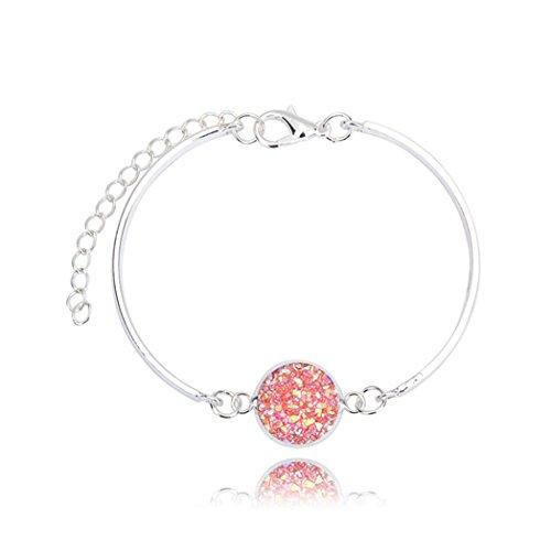 beautijiam Damen-Armband, Geodenstein, Strass-Armreif, Schmuck Geschenk Silber + Pink