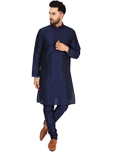 SKAVIJ Seda Kurta Pijama (Camisa Larga y Pantalón) para Hombre