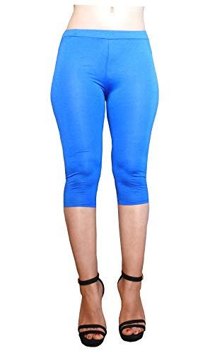 Lc03 - blauw - driekwart - 3/4 - leggins - legging - dames - elastische shorts - lente - zomer - een maat