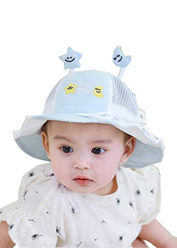 QWEAS Bebe Sombrero Protector con Visera, Facial De Protección Anti-Saliva Niños Sombrero Facial De Protección Anti-Saliva Protector Facial Viento A Prueba De Polvo Prueba UV,Azul,L