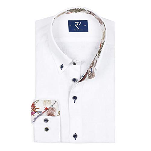 R2 Amsterdam Herren Business Hemd Kurzarm Leinenhemd 105.HBDSS.047/004 Weiß, 45