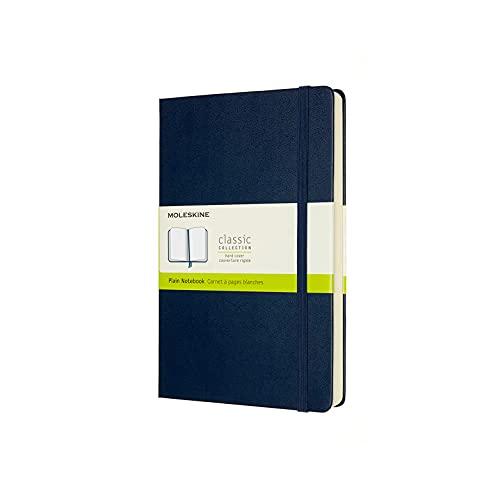 Moleskine - Cuaderno Clásico con Hojas en Blanco, Tapa Dura y Cierre con Goma Elástica, Tamaño Grande 13 x 21 cm, Color Azul Zafiro, 400 Páginas