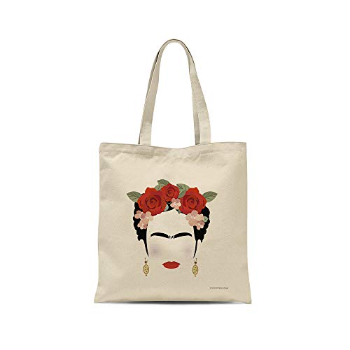 all sas - Shopper, Frida Kahlo, 100% Baumwolle, Druck, Made in Italy