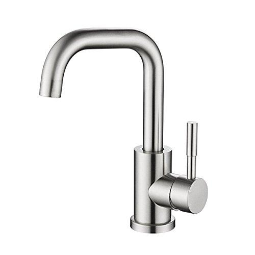 AQMMi Wasserhahn Waschtisch Waschbecken Armatur 304 Edelstahl Gebürstet Badarmatur Waschbeckenarmatur Waschbecken