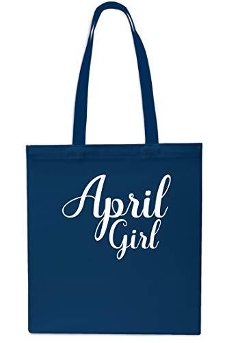 Bolsa de playa de 42 cm x 38 cm, 10 litros, diseño de niña de abril azul marino
