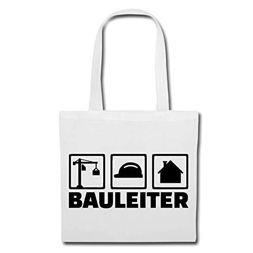 Tasche Umhängetasche Bauleiter - BAULEITERIN - BAUAUFSICHT - BERUFSGENOSSENSCHAFT - Architekt Einkaufstasche Schulbeutel Turnbeutel in Weiß