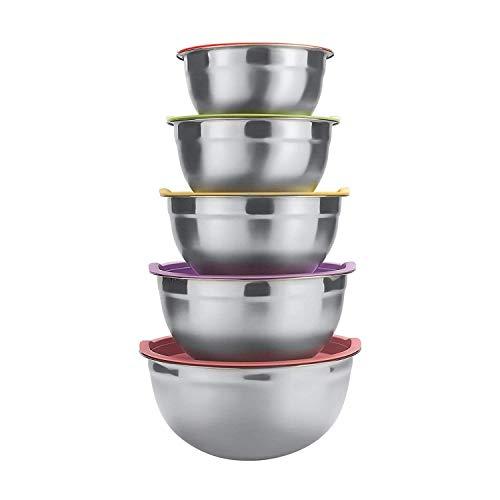 Raking Edelstahlschüssel Set 5 Stück mit Bunten Decke für Küche, Edelstahl Salatschüsseln Frischhalteschüssel Rührschüssel Rutschfest Schüsselset Große 5er Set (Silber)