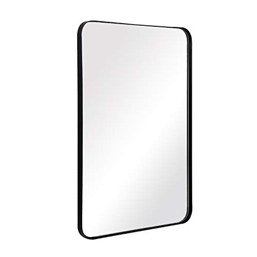 ANDY STAR Wall Mirror for Bathroom, 24x36 Inch Black Bathroom Mirror, Stainless Steel Metal Frame with Rounded Corner, Rectangle Glass Panel Wall Mounted Mirror Decorative for Bathroom