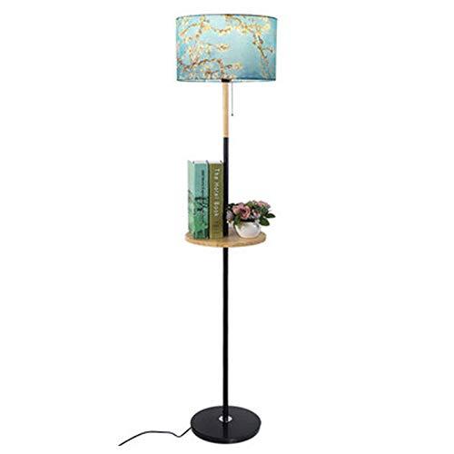 KOKOF Lámpara de pie estante bandeja con mesa mesa mesa de centro de madera nórdico sala de estar dormitorio simple personalidad moderna creativa caliente lámpara de pie azul-12W