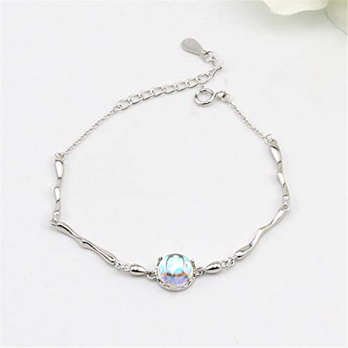 shangwang 925 Sterling Silver Crystal Round Beads Charm Bracelet And Bracelet Link Chain Adjustable Bracelet, Suitable For Female Wedding Jewelry