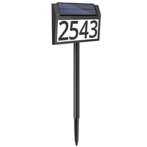 Solar Address Sign Lighted House Numbers Waterproof, Solar Powered LED Illuminated Address Plaques with Stakes, 3-Color in 1 Outdoor Address Number for Home Street Yard Driveway