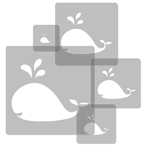 5 Stück wiederverwendbare Kunststoff-Schablonen // WAL - WALFISCH // 34x34cm bis 9x9cm // Kinderzimmer-Dekorarion // Kinderzimmer-Vorlage