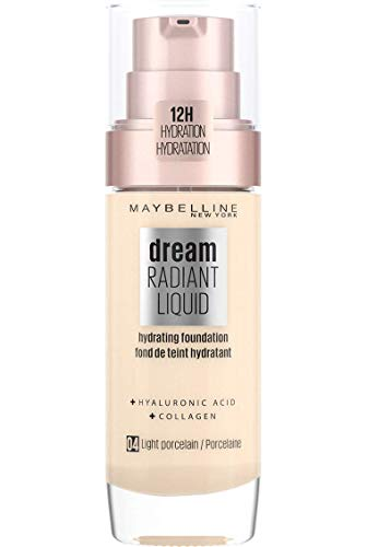 Maybelline Foundation Fond de Teint Hydratant Liquide Dream Radiant avec Acide Hyaluronique et Collagène - Couverture Légère et Moyenne jusqu'à 12 Heures d'hydratation, 04 Light Porcelain