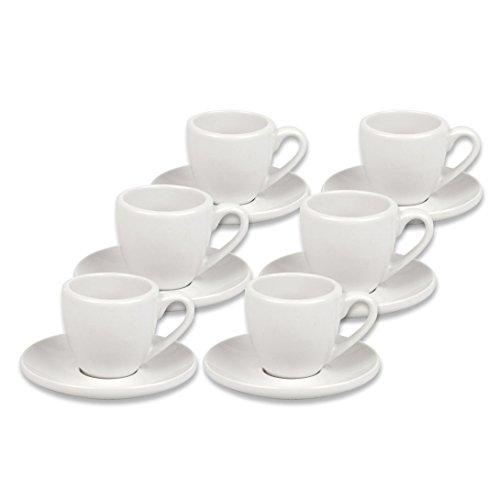 Coffee Bar 6er Könitz Espressotassen aus der Serie dickwandig mit Untertasse neutral 12 teilig aus Porzellan Weiss