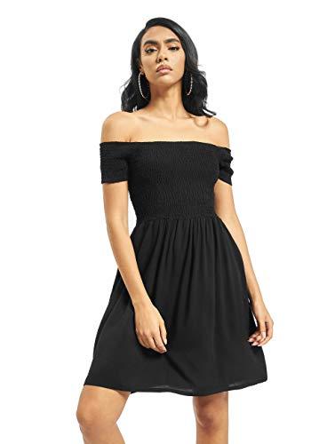 Urban Classics Damen Ladies Smoked Off Shoulder Dress Kleid, Schwarz (Black 00007), 40 (Herstellergröße: L)