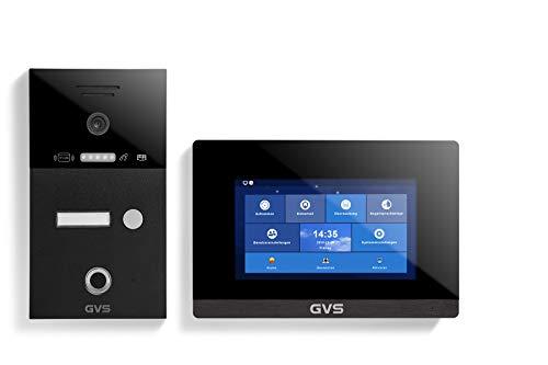 GVS AVS5284A - Videoportero de 4 cables/IP, IP65, RFID, Fingerprint, 1 monitor de 7 pulgadas, App, cámara HD 120°, apertura de puerta, 32 GB de memoria, conmutador PoE, 1 juego familiar