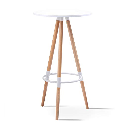 IDMarket - Table Haute de Bar Ronde scandinave Sara Blanche