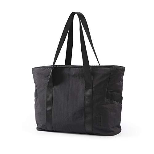 BAGSMART Women Tote Bag Large Shoulder Bag Top Handle Handbag with Yoga Mat Buckle for Gym, Work, School, Black