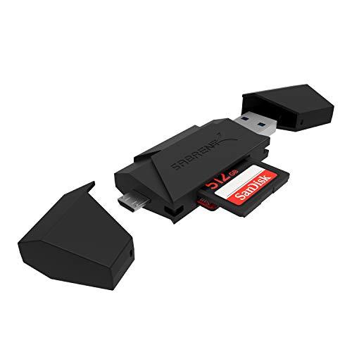 SABRENT -Mikro USB OTG und USB 3.0 Flash -Speicher Kartenleser für Windows, Mac, Linux, Android, (OTG) - unterstützt SD, SDHC, SDXC, MMC, MicroSD, T-Flash [Schwarz] (CR-UMMB)