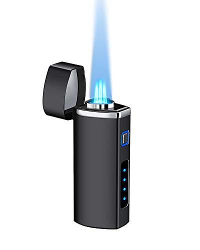 【WDMART】 葉巻 用ライター ガスライター メタルライター 充填式ライター 注入式ライター トリプル ターボ ジェット ライター フレームロック機能?残余ガス可視化?葉巻パンチ付き?誕生日プレゼント(ガスを含んでいません) (ビジネスブラック)