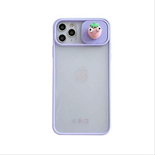 Funda para teléfono con protección de Lente de cámara 3D para iPhone 12 11 Pro MAX Mini 8 7 6 Plus XR X XS MAX SE 2020 Funda Trasera Suave para Regalo 7 Plus u 8 Plus Purple-Strawberry