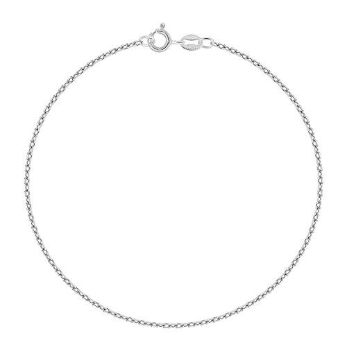 Planetys - Ankerkette Knöchelkette Fußkettchen 925 Sterling Silber rhodiniert 1.5 mm Breite