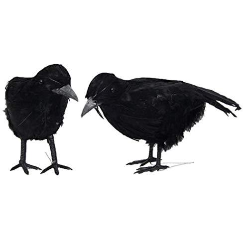 Julymall 2pcs / Set Halloween Crow Gefälschte Vogelspielzeug Ravens Stütze-Abendkleid Dekoration Requisiten Partei-Dekoration (2pcs)