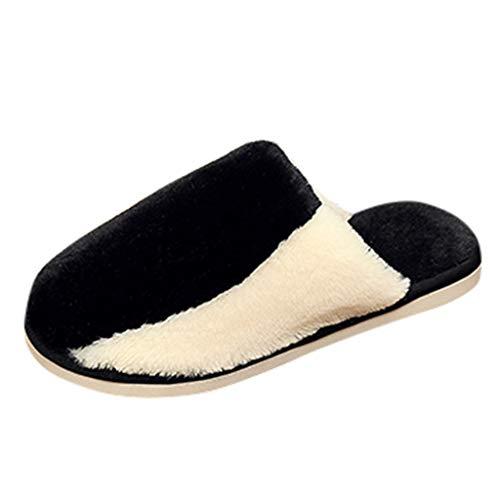 Zapatillas de Felpa de Interior para Hombre TOPKEAL Zapatillas Color Coscura Antideslizante Suave de Parejas de Invierno